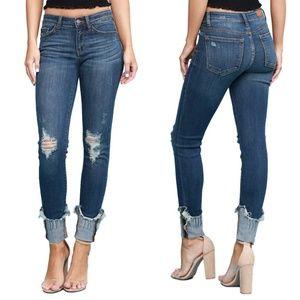 NWT Judy Blue Jeans Serina Cuffed Skinny Mid Rise